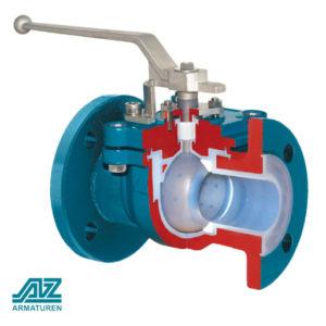 Шаровой кран полнопроходной футерованный с цельным корпусом monobloc extra   AZ Armaturen